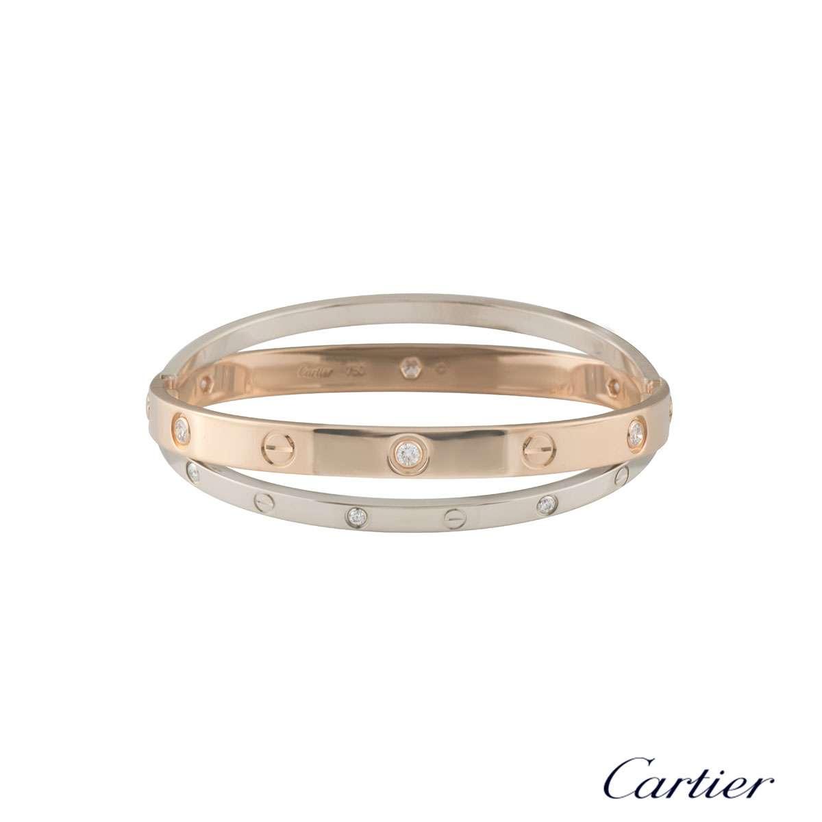 Cartier Love Rose & White Gold Diamond Bracelet Size 17 N6039117